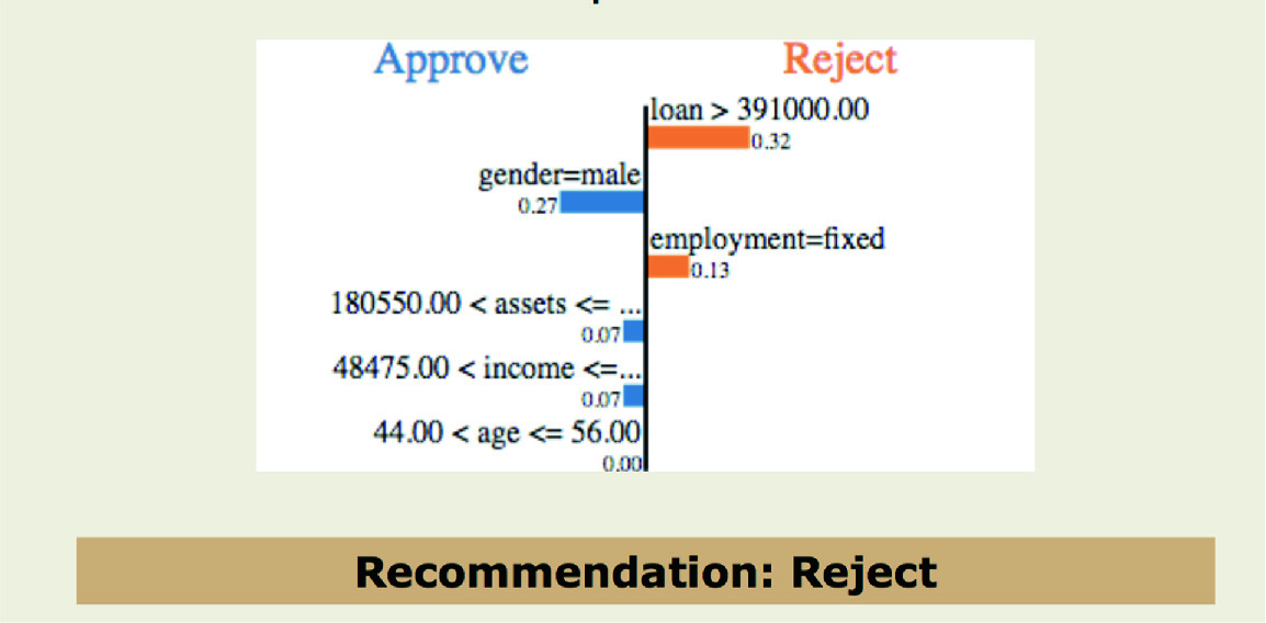 Visualizing gender bias for loan application prediction: gender=male has positive weight
