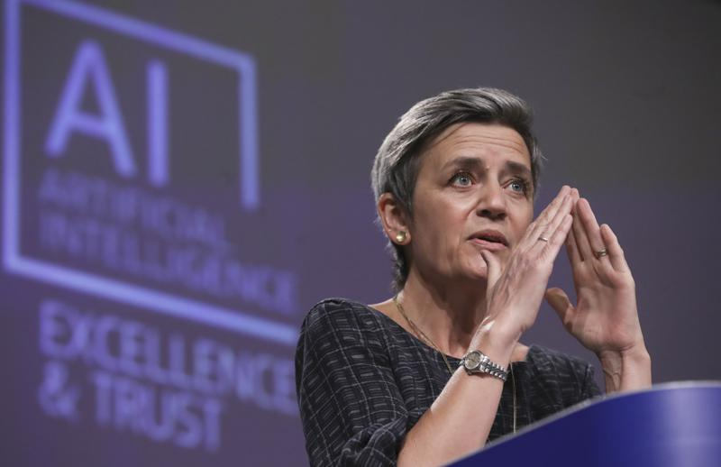 Margrethe Vestager, commissioner for Europe fit for the Digital Age commission speaking about the proposed regulations